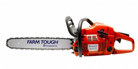 Orange, Font, Machine, Tool, Saw chain, Power tool, Saw, Agricultural machinery, Chainsaw, Outdoor power equipment,
