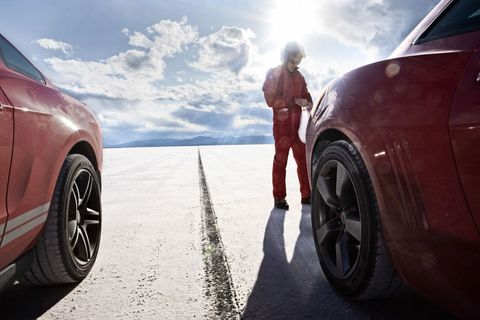Mustang vs Camaro - Bonneville Flats Speed Racing Camaro vs Mustang