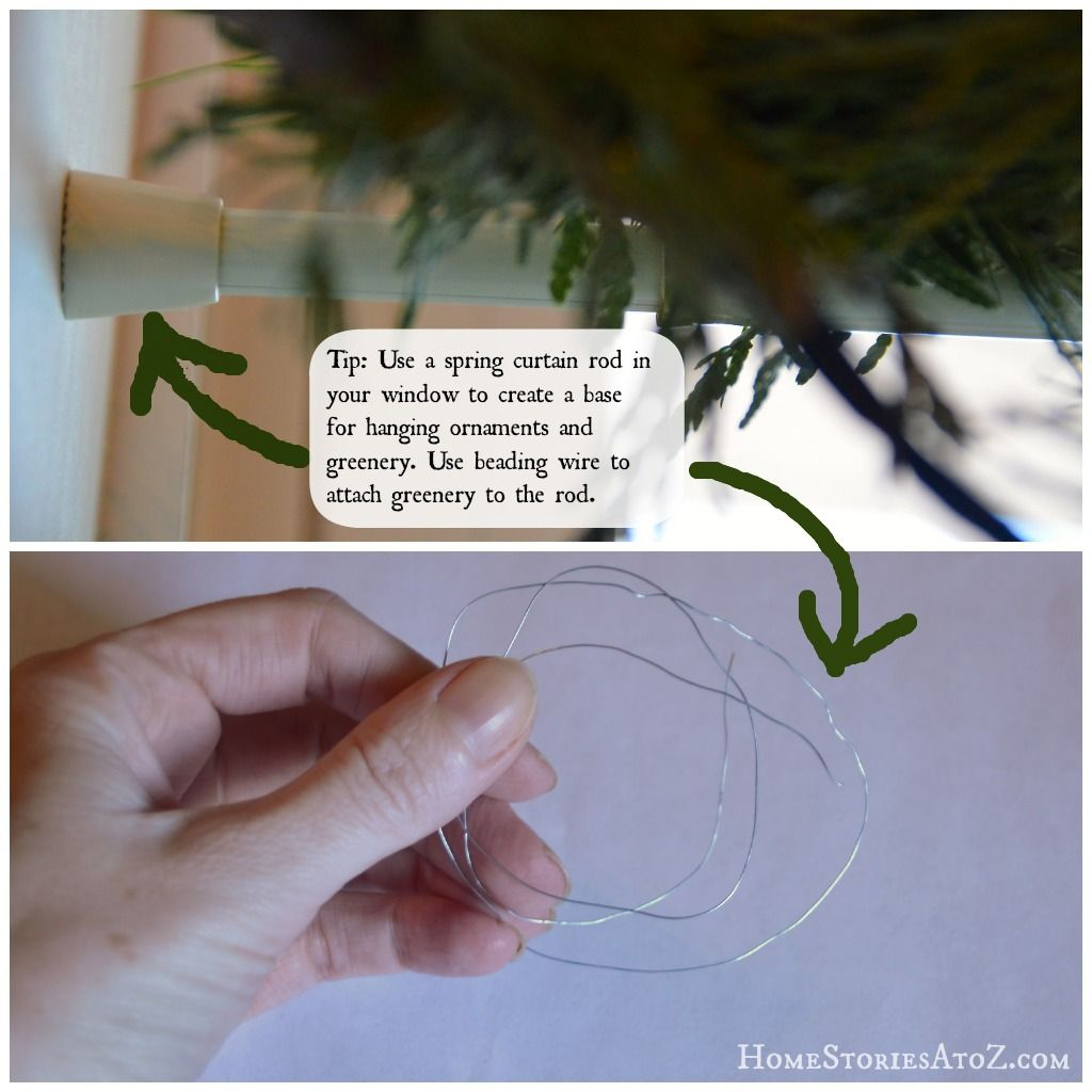 """<p>If you love the look of greenery above your windows, just consider it your drapery for the season: A tension curtain rod holds the decorations in place, and craft-store wire attaches it to the rod.</p><p><a href=""""http://www.homestoriesatoz.com/christmas/christmas-decorating-tips-and-tricks.html"""" target=""""_blank""""><em>See more at Home Stories A to Z »</em></a></p>"""