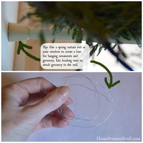 "<p>If you love the look of greenery above your windows, just consider it your drapery for the season: A tension curtain rod holds the decorations in place, and craft-store wire attaches it to the rod.</p><p><a href=""http://www.homestoriesatoz.com/christmas/christmas-decorating-tips-and-tricks.html"" target=""_blank""><em>See more at Home Stories A to Z »</em></a></p>"