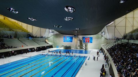 Blue, Swimming pool, Sport venue, Leisure, Ceiling, Indoor games and sports, World, Aqua, Composite material, Water sport,