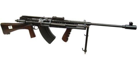 Rifle, Gun, Firearm, Assault rifle, Trigger, Line, Machine gun, Gun barrel, Black, Tan,