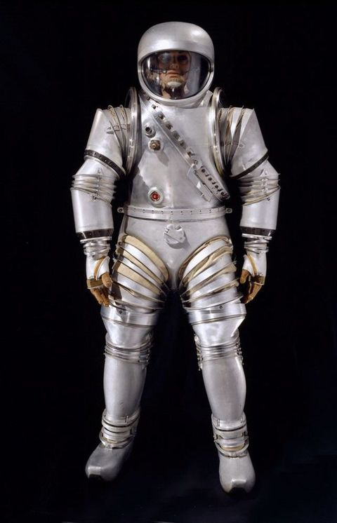<p>Starting in 1963, NASA worked with Litton Industries to develop an EVA suit. Based on designs for an Air Force vacuum chamber, this was the second edition of the hard EVA suit designed by Siegfried Hansen. Very sci-fi.</p>