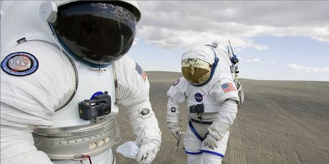 <p>In 2005, President George W. Bush announced the Constellation program, an audacious space exploration program that would build the first deep space rockets and crewed vehicles since the Apollo era. It included a return to the moon and a mission to Mars. While the Obama administration largely scrapped the program (save the Orion capsule and Space Launch System), some components of it were tested, including these spacesuits designed for lunar EVA. </p>