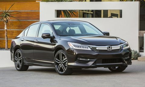 <p><strong></strong><strong>Base Price</strong>: $22,105</p><p>Since the late 1970s, the Honda Accord has offered a solid blend of supple ride, agile handling, and impressive packaging. It's a midsize sedan benchmark all others aim to beat. In this 9th generation, Honda offers a broad range of Accords to choose from. One of our favorites is the 189-hp four-cylinder Sport model (other four-cylinder Accords make 185 hp) paired with a manual transmission. Don't want to row your own gears? The four-cylinder is also available with a CVT. Honda says improvements in the 2016 models should allow it to hit 37 mpg highway. The smoothest and sweetest powertrain is the 278-hp V6 paired to a six-speed automatic.</p><p>The Accord has one of the roomiest trunks in the midsize class (15.8 cu-ft.) as well as a comfortable rear seat with 38.5 inches of legroom and a cabin defined by big windows that provide an airy feel.</p>