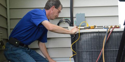 """<p>There's no need to call in an expert to give your furnace or air-conditioner a seasonal checkup. You can maintain your heating and cooling system yourself by following the manufacturer's recommended maintenance schedule, which will help prevent problems before they begin. </p><p><strong>Project:</strong> Depending on what type of furnace you have, you'll want to grab a flashlight and inspect the flue pipe for leaks, change the oil and air filters, and clean the floor and wall vents. </p><p>Air-conditioner maintenance consists of cleaning or replacing air filters to keep the unit running at peak performance and clearing away any dirt and debris that may have accumulated around the air-conditioner coils which rely on clear airflow around the condenser.</p><p>Here's a list of <a href=""""http://www.popularmechanics.com/home/interior-projects/how-to/a4125/4313207/"""">common heating and cooling problems</a> to look out for, and how to fix them.</p>"""