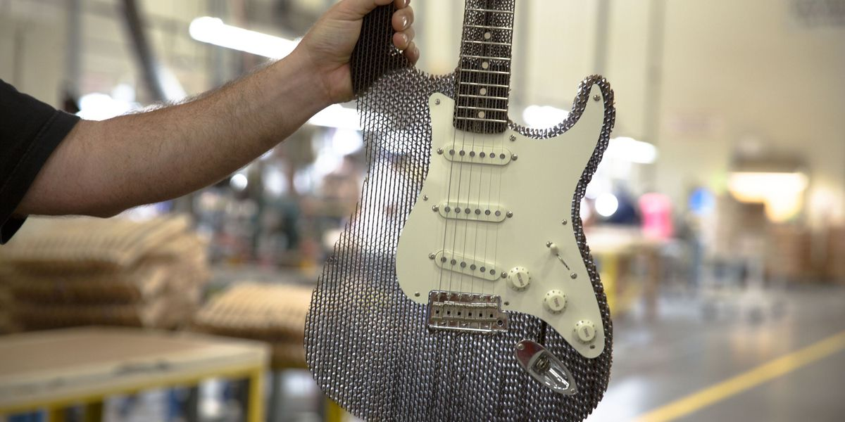 A Fender Stratocaster Made of Corrugated Cardboard Actually