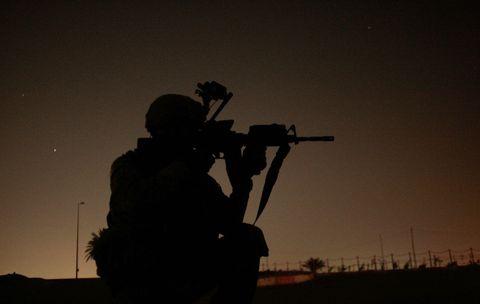 Soldier, Military person, Machine gun, Shooting, Helmet, Air gun, Military, Gun barrel, Army, Military camouflage,