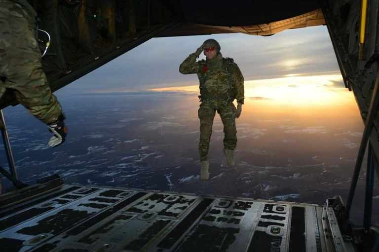 PA US Army Soldier Jumps Out Of A C 130 Hercules Over