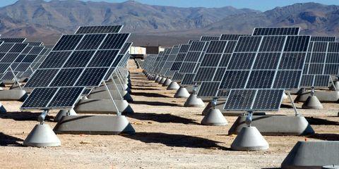 Slope, Solar panel, Solar energy, Solar power, Technology, Sunlight, Line, Roof, Light, Composite material,