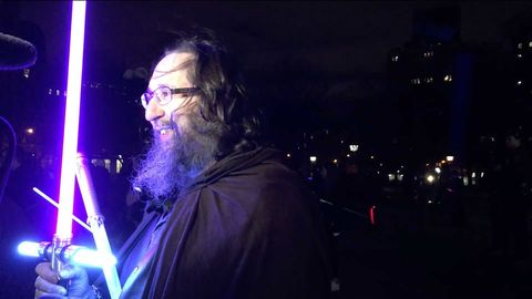 Eyewear, Vision care, Glasses, Facial hair, Beard, Moustache, Night, Jacket, Electric blue, Darkness,