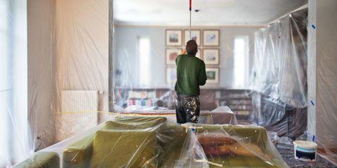 Room, Interior design, Ceiling, Plastic bag, Curtain, Light fixture, Interior design, Window treatment, Plastic, Cooking,