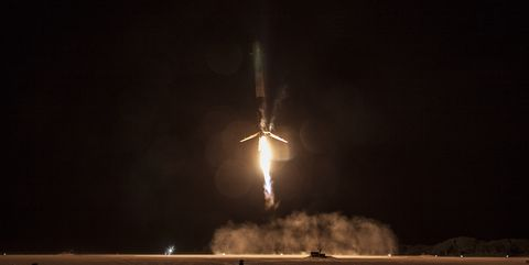 """<p>The SpaceX Falcon 9, just seconds before it <a href=""""http://www.popularmechanics.com/space/news/a18682/spacex-nails-a-vertical-landing-at-cape-canaveral/"""">accomplished a vertical landing</a> from an orbital flight. (<a href=""""https://www.flickr.com/photos/spacexphotos/23802552292/in/dateposted/"""">Source</a>)</p>"""
