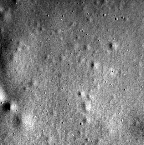 "<p>This was the <a href=""http://www.popularmechanics.com/space/a15312/nasa-mercury-messenger/"">last image sent by the MESSENGER vehicle</a> before it crashed into the surface of Mercury, ending its mission. (<a href=""https://www.nasa.gov/image-feature/messengers-final-image"">Source</a>)</p>"