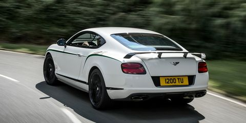 """<p>When you look at the Bentley Continental GT3-R, there are more than a few hints that it's more of a corner carver than any previous Continental. The biggest hint, however, is probably the ridiculous wing gracing the trunk lid. As we said <a href=""""http://www.roadandtrack.com/car-culture/a26840/the-gt3-r-is-the-first-continental/"""" target=""""_blank"""">in our recent drive of the GT3-R</a>, """"Think of it as a prehistoric Mitsubishi Evolution, with far less turbo lag and a much, much better stereo.</p>"""