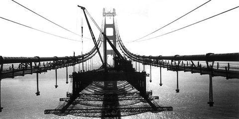 Suspension bridge, Bridge, White, Line, Monochrome photography, Black-and-white, Parallel, Fixed link, Monochrome, Cable-stayed bridge,