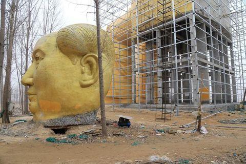 Sculpture, Composite material, Carving, Visual arts, Construction, Statue, Nonbuilding structure, Scaffolding, Artifact, Foundation,