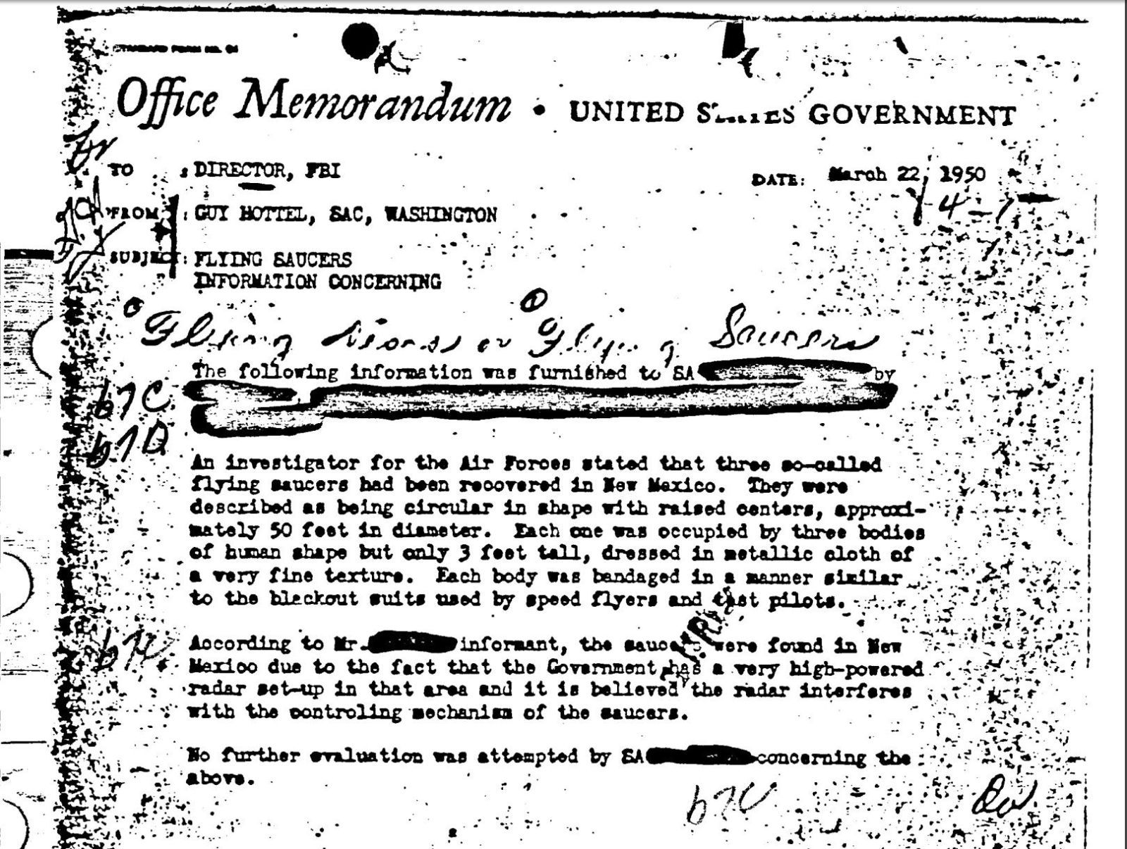 Why So Many People Are Reading This Old FBI Memo About UFOs