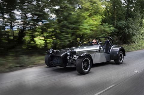 "<p>The Caterham Seven is the continuation of the Lotus car by the same name, and its design is legendary for being small, light, simple, and fast. You'd think that a car that <a href=""http://www.roadandtrack.com/new-cars/first-drives/reviews/a12130/2006-caterham-csr/"" target=""_blank"">can hit 60 mph in less than three seconds</a> would have some special engine, but nope, not in this case. There's a Ford Duratec under the hood.</p>"