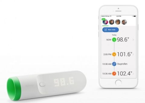 "<p>What if you never had to stick a thermometer in your mouth, or ear (or elsewhere) ever again? <a href=""http://www.withings.com/eu/en/products/thermo"">The Withings Thermo</a> is a step in that direction. With built-in infrared sensors that take your temp, the Thermo just needs a little skin time. Apply directly to the forehead and you have your temperature  immediately, both on the Thermo's display and on the accompanying smartphone app. It's not quite a tricorder, but it's a step in that direction! </p>"