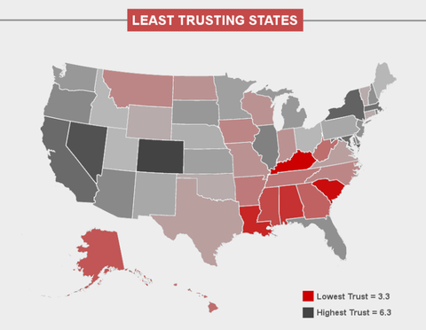 Map Shows Which Us States Trust Self Driving Cars And Which Dont - Show-us-map-with-states