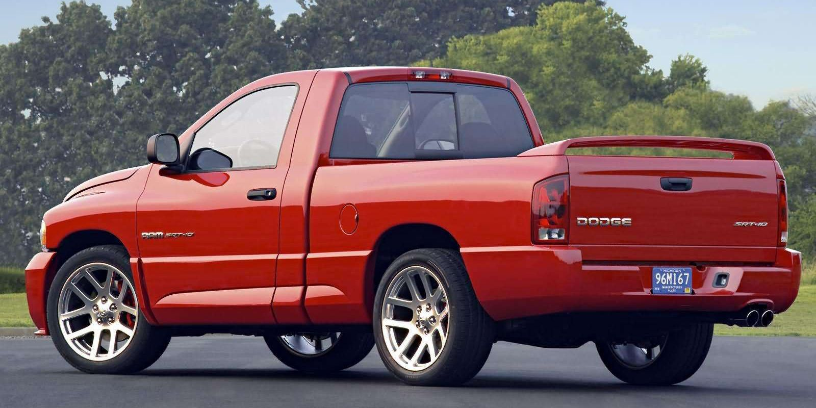 "<p>This was the Viper-powered truck we all remember fondly. It could achieve <a href=""http://www.caranddriver.com/reviews/2004-dodge-ram-srt-10-road-test-a-jackhammer-page-2"">0-60 in just 4.9 seconds</a>, sounding like a very angry UPS truck and roasting those rear tires in the process.</p>"