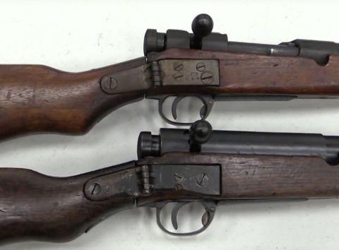 Gun, Brown, Wood, Firearm, White, Trigger, Line, Tan, Black, Metal,