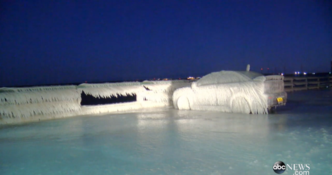 These Insane Images Prove You Should Never Park Your Car by Lake Erie During a Cold Blast