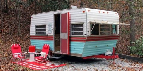Red, Travel trailer, Outdoor furniture, Mobile home, RV, Caravan, Classic, Outdoor table,
