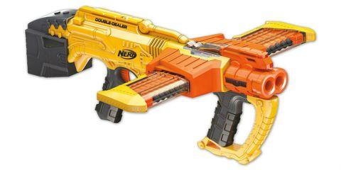 Yellow, Gun, Line, Orange, Toy, Machine, Trigger, Construction set toy, Air gun, Gun accessory,
