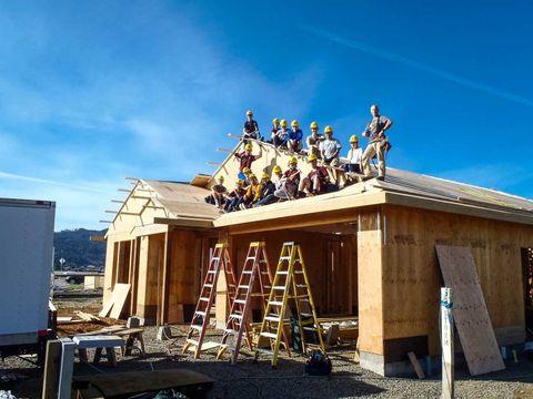 Roof, Ladder, Door, Lumber, Concrete, Shade, Siding, Tradesman, Building material, Log cabin,