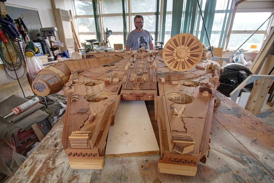 Stunning Wooden Millennium Falcon Is Made From 3000