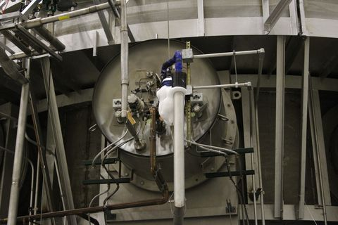 <p>Come October 2018, the telescope will launch from ESA's launch complex in French Guyana on board an Ariane rocket. It will sail past the moon into an orbit known as L2, which will have it continually on the far side of the moon, at a gravitationally stable place that will block out much of the sun's light.<br></p><p>This leaves little room for error. There's redundancy for every electrical system, but if something goes wrong (as happened early on with the Hubble Space Telescope), the telescope will be too far away to send up any servicing missions. In other words, the Webb team could have a $3 billion failure on its hands, and wants to take every precaution to make sure that's not the case.</p><p>While the primary mirror installation wraps up, another part of the JWST undergoes a harsh series of tests. The four instruments need to survive unimaginably low temperatures (-445 degrees Fahrenheit) in the vacuum of space. NASA has something on hand for that: a cryochamber that can remove all air, and bring temperatures so frigid that dry ice forms on some of the valves pumping out air (as you can see in the above image).<br></p>