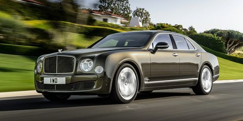 """<p>For some people, the opulence of the <em>regular </em>Bentley Mulsanne wasn't enough, so Bentley went ahead and made the Mulsanne Speed. Predictably, the power jumped as well: It now makes 530 hp and (are you ready for this?) <a href=""""http://www.roadandtrack.com/new-cars/first-drives/news/a25255/2015-bentley-mulsanne-speed-first-drive-review/"""">811 lb-ft of torque</a>. Need to pull a stump out of the ground? Get your chauffeur to grab the Mulsanne.</p>"""
