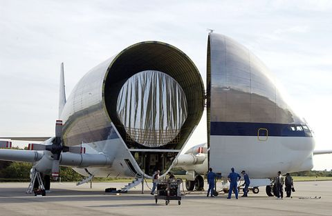 "<p>NASA's preferred plane for transporting spacecraft and other large objects, the Super Guppy, is actually an older design. The first one flew in 1965 and was constructed directly from the fuselage of a <a href=""https://en.wikipedia.org/wiki/Boeing_C-97_Stratofreighter"">Boeing C-97 Stratofreighter</a><a href=""https://en.wikipedia.org/wiki/Boeing_C-97_Stratofreighter""></a>, which was lengthened and ballooned out for larger payloads. One was used recently to <a href=""http://www.popularmechanics.com/space/g1914/today-in-photos-nasa/?slide=1"">transport an Orion spacecraft</a> that is scheduled to launch on the first Space Launch System Rocket in 2018.</p>"