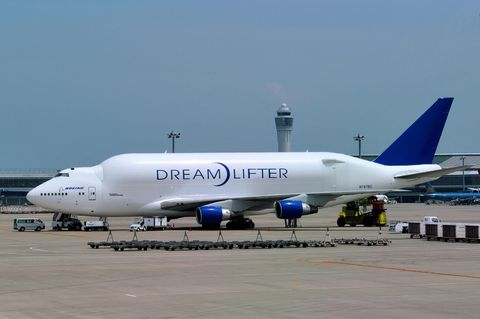 "<p>A number of the biggest cargo planes in the world are variations of the Boeing 747. The <a href=""https://en.wikipedia.org/wiki/Boeing_747-8"">747-8 Freighter</a>, a cargo version of the passenger 747-8 Intercontinental, is actually a heavier plane—with an <span class=""redactor-invisible-space""></span>almost 900,000-pound maximum takeoff weight. But the Dreamlifter's fuselage design allows the plane to carry particularly large or awkwardly shaped items. </p>"
