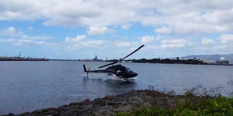 Helicopter, Rotorcraft, Aircraft, Cloud, Coastal and oceanic landforms, Helicopter rotor, Horizon, Cumulus, Bank, Coast,