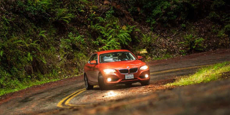 """<p>If you're looking to save a little money over the i8, or you prefer a traditional drivetrain over a hybrid, you can still have fuel-efficient fun in a BMW. The 228i will hit 35 mpg on the highway if you choose the automatic, but <a href=""""http://www.roadandtrack.com/car-shows/new-york-auto-show/news/a7632/ultimate-228i-track-pack/"""" target=""""_blank"""">it's no slouch in the fun department</a>. Its 240-horsepower engine is powerful enough to hit 60 mph in either 5.4 or 5.5 seconds depending on the transmission. You can thank the fact that the 228i only weighs 3300 pounds for that.</p>"""