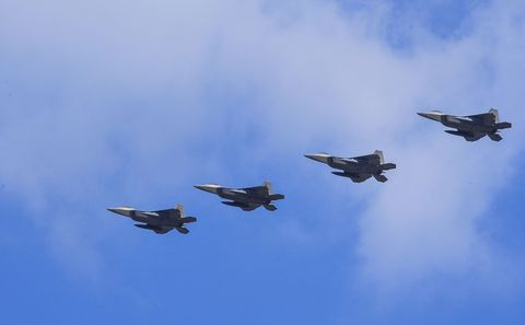 Airplane, Aircraft, Blue, Sky, Event, Fighter aircraft, Aviation, Jet aircraft, Military aircraft, Flight,