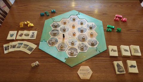 """<p>Here's a DIY version of the popular board game Settlers of Catan that's built entirelyf from a single 8-foot 2 x 4—that includes the board tiles, game pieces, dice, robber, and everything else. The game cards are made from the wood and thin shavings.</p><p><a href=""""https://www.popularmechanics.com/culture/a19614/woodworker-crafts-entire-settlers-of-catan-game-from-a-single-2x4/"""">Settlers of Catan board game</a></p>"""