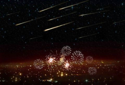 Night, Event, Atmosphere, Astronomical object, Line, Space, Darkness, Star, Midnight, Fireworks,