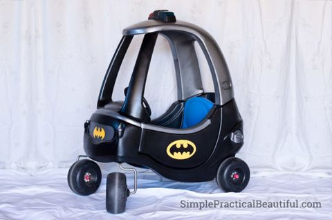 """<p>This transformation is for the most Batman-obsessed kiddos. For best results, have 'em wear full Batman garb (the cape, the mask, you name it). Just don't be surprised if they ask for a Batcave next.</p><p><a href=""""http://simplepracticalbeautiful.com/little-tikes-toddler-batmobile/"""" target=""""_blank""""><em>See more at Simple Practical Beautiful »</em></a></p>"""