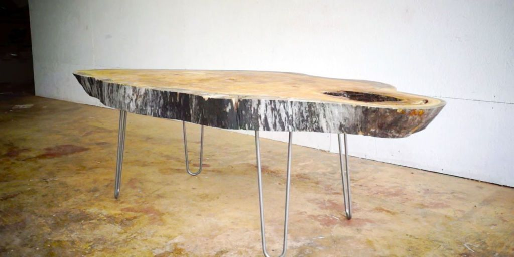 Build a Live Edge Modern Coffee Table From a Slab of Wood