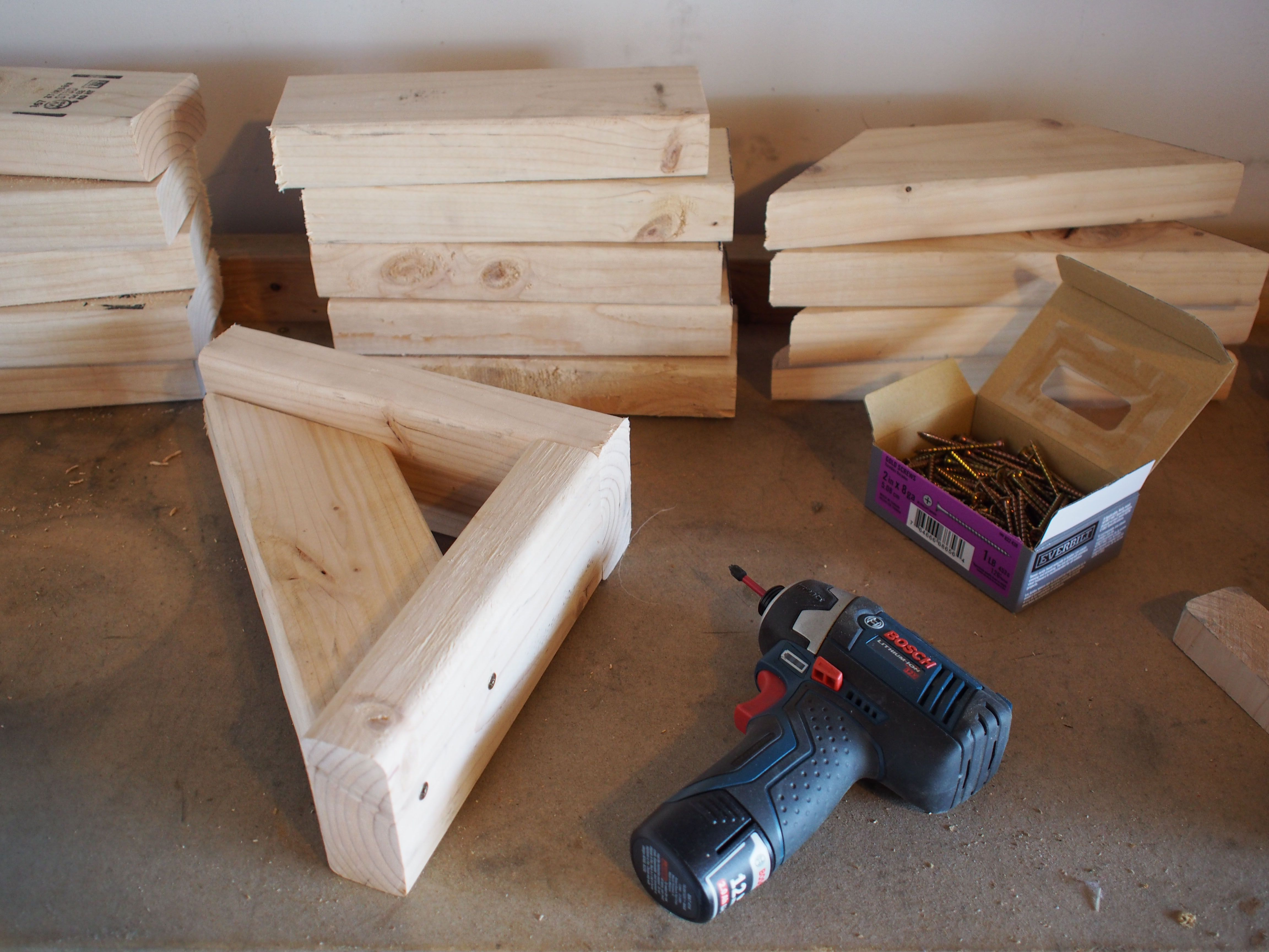 We Assembled All Six Brackets Using Standard 2 1/2 Inch Screws And Our  Impact Driver. We Put Two Screws Into Each Connected End. The Longer  10 Inch Piece Is ...