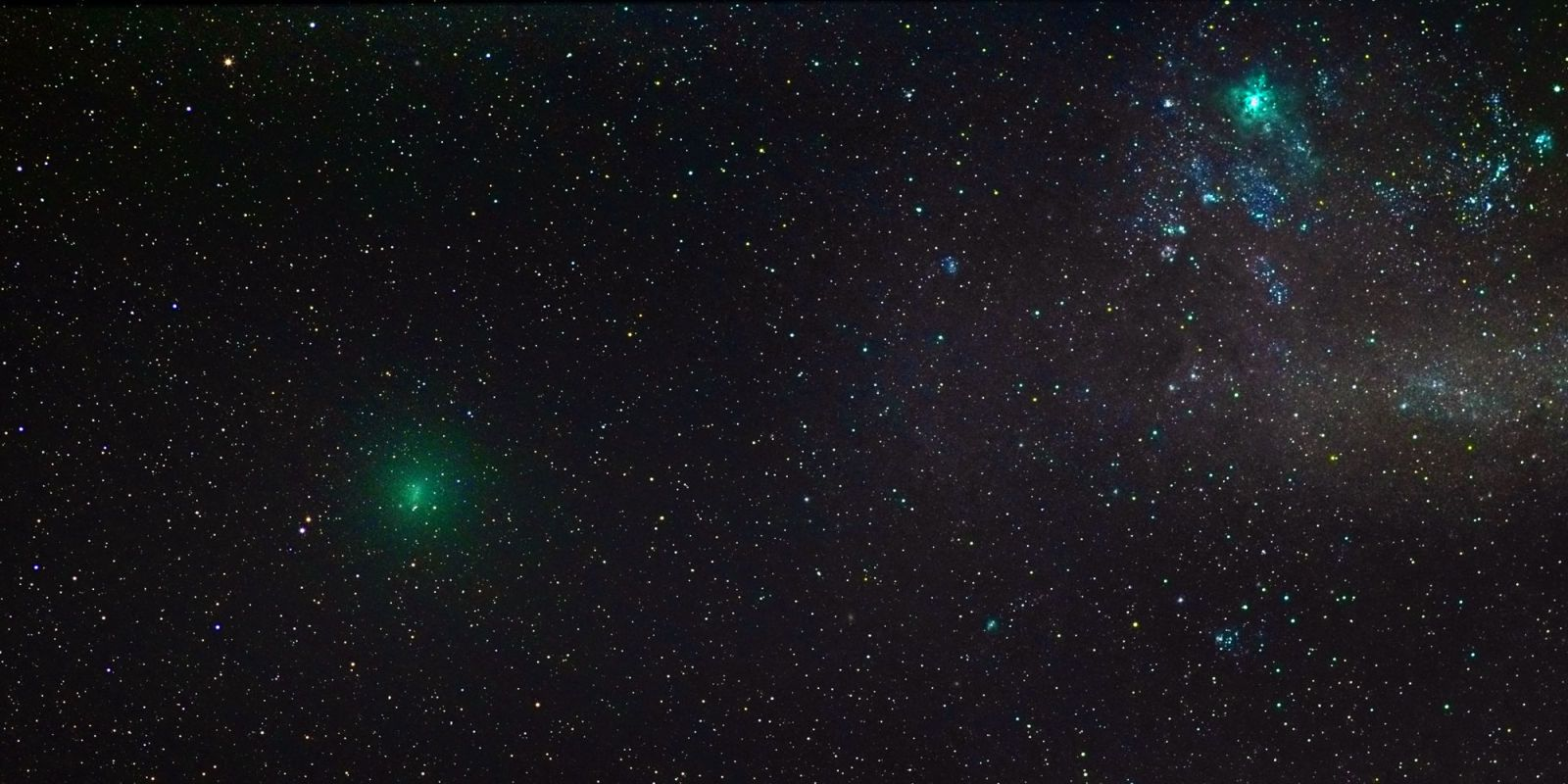 Watch a Big Green Comet And Its Twin Fly Past the Earth