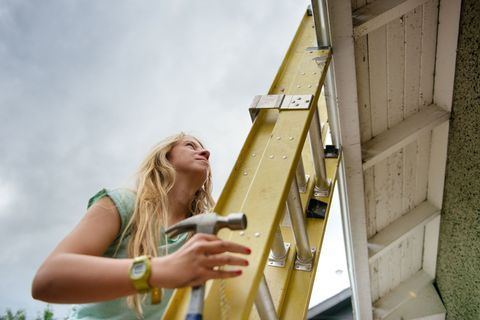 <p>Let your kids help stabilize a ladder while you are on it. Whether you really need the help or not, they'll feel involved—and thinking of safety.</p>