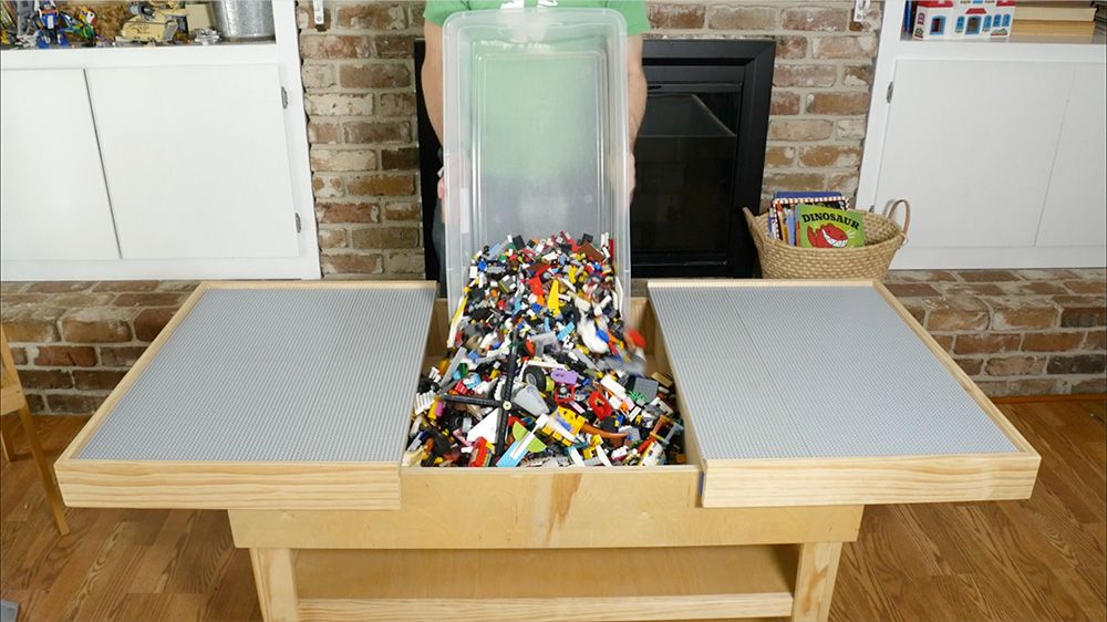 Diy Sliding Lego Table Keeps All Those Bricks In One Place
