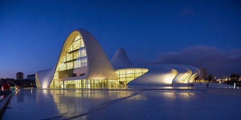 Architecture, Facade, Landmark, Commercial building, Reflection, Arch, Evening, Headquarters, Urban design, Tourist attraction,