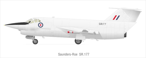 <p>The Saunders-Roe SR.177 was an ambitious attempt by the British Royal Air Force to develop a combination jet- and rocket-powered interceptor to defend against the threat of Soviet bombers. But a new military budget laid out by the U.K. Parliament in 1957 canceled the project.</p><p>The research paved the way for the similar Saunders-Roe SR.53, two of which were built and underwent flight tests. The second prototype of the SR.53 crashed in an aborted takeoff on its 12th flight test, exploding on impact and killing the pilot. </p>