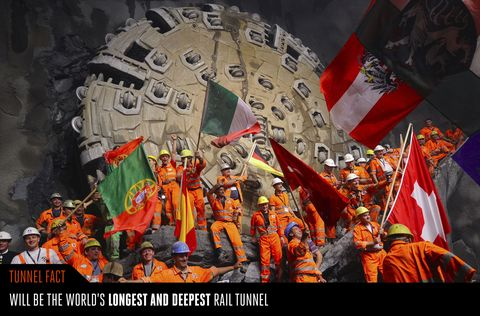 <p>We are mere months away from having a new world's longest and deepest rail tunnel. Construction has been going on for nearly 20 years, but the Gotthard Base Tunnel inside the Swiss Alps finally will open on June 1, 2016, moving rail cars of passengers and freight between Zurich, Switzerland, and Milan, Italy. At 35 miles long and dipping about 7,500 feet below the mountain peaks above it, the Gotthard Base Tunnel eliminates the need for winding mountainous routes by offering the first flat-track route through the Alps.</p>
